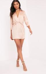 d5e8047332a Katalea Champagne Twist Front Silky Shirt Dress image 3