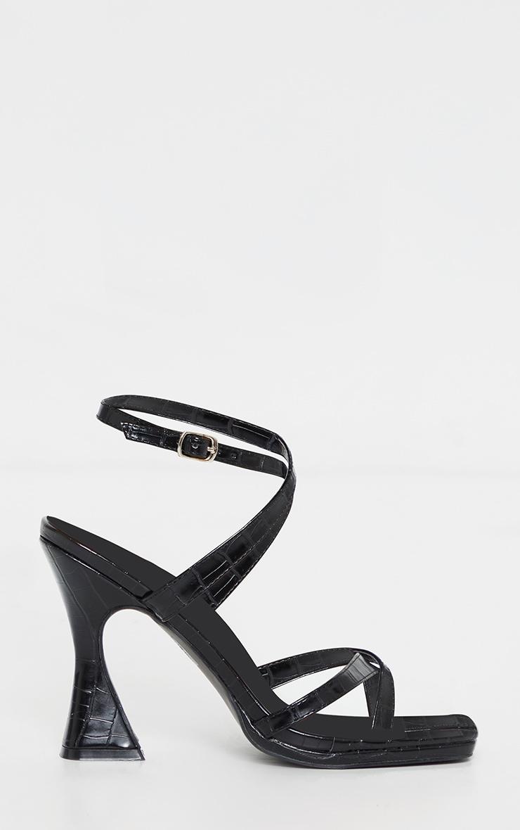 Black Toe Thong Ankle Strap Midi Flare Heels 3