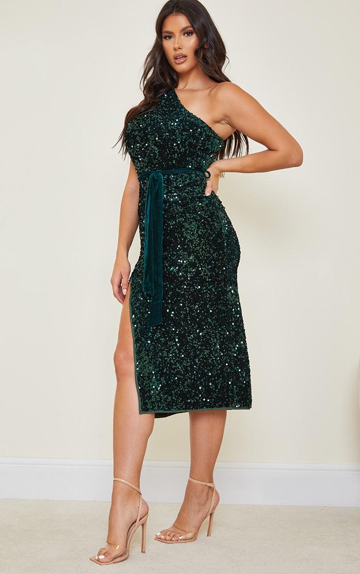 Tall Emerald Green Premium Velvet Sequin One Shoulder Tie Waist Midaxi Dress 3