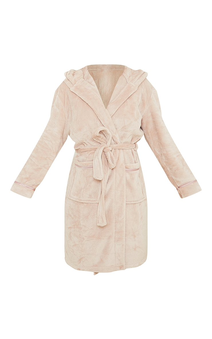 Mink Satin Trim Fleece Hooded Dressing Gown 5