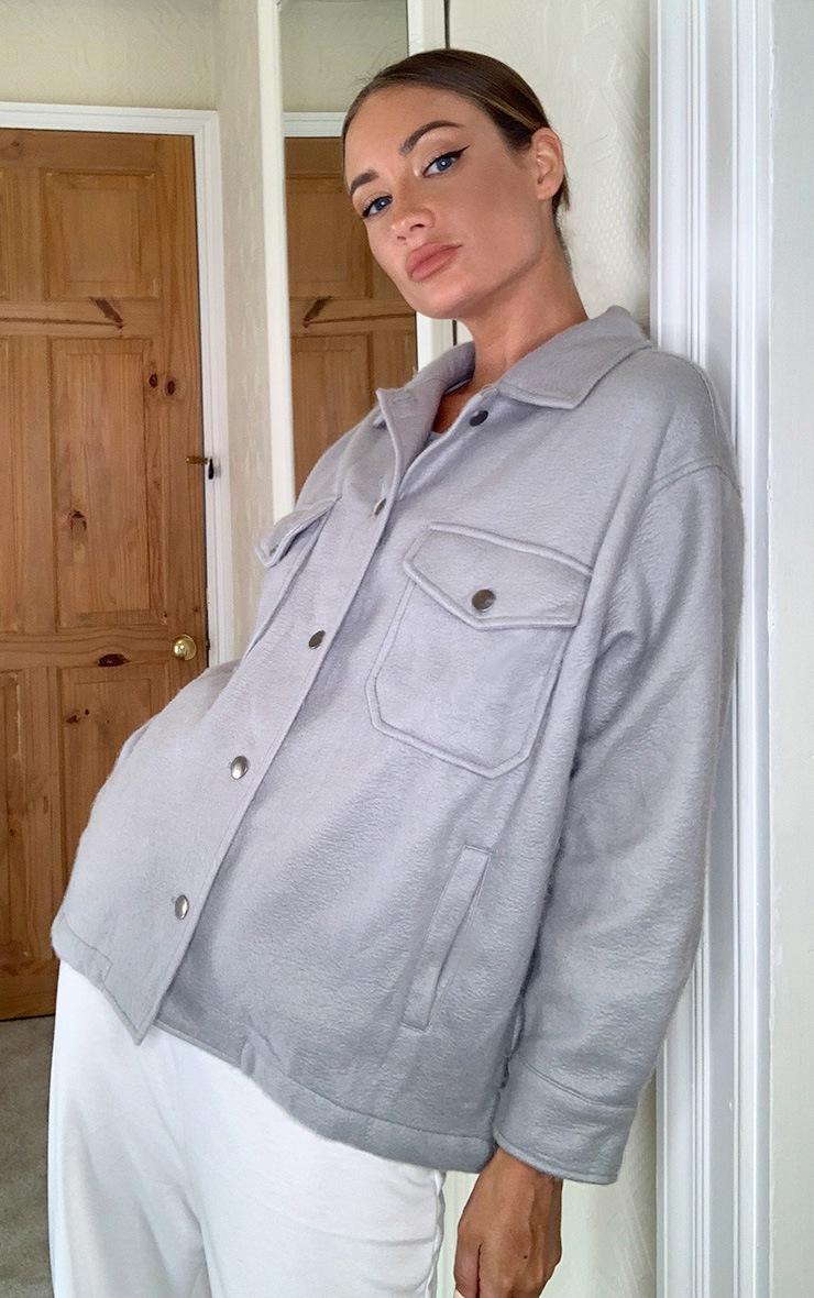 Grey Pocket Front Shacket 4
