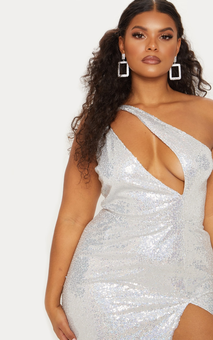 Silver sequin one shoulder cut out bodycon dress