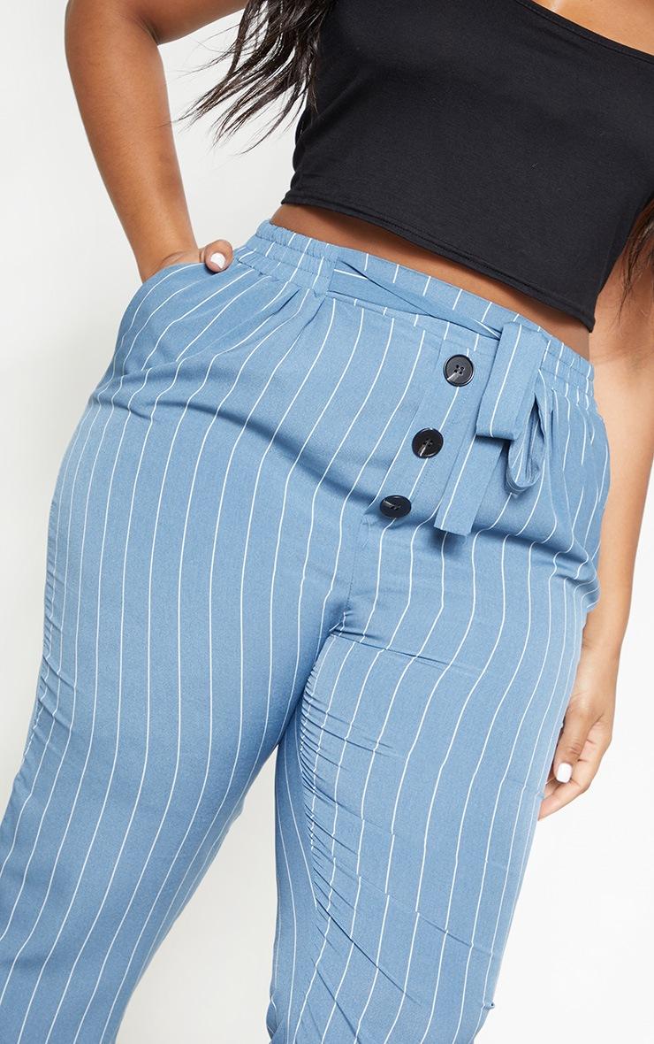 Plus Dusty Blue Pinstripe Button Detail Casual Pants 5