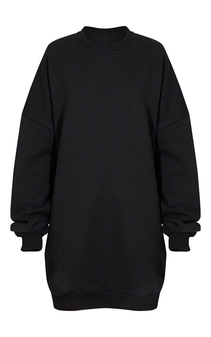 PRETTYLITTLETHING Black Contrast Graphic Oversized Sweat Sweater Dress 5