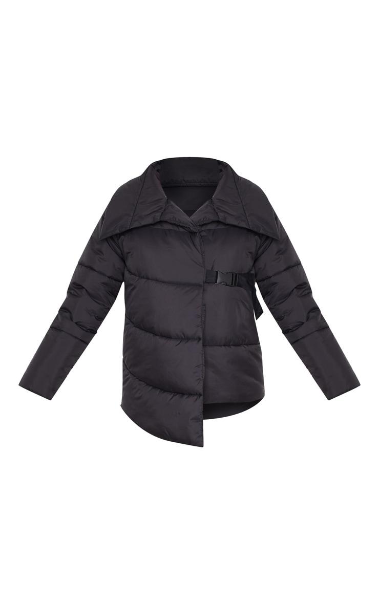 Black Side Buckle Puffer Jacket 3