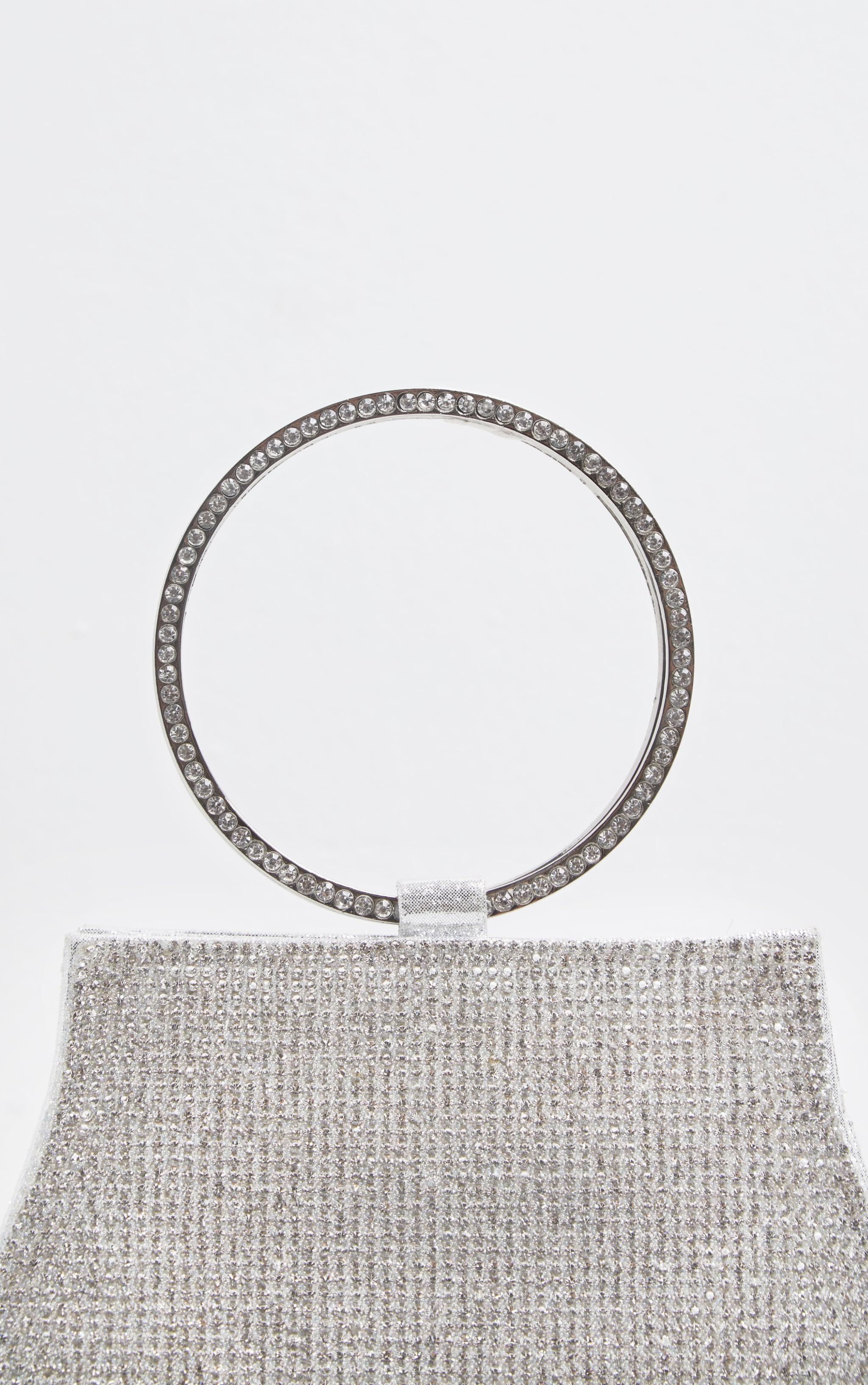 Silver Glitz Diamante Circle Handle Clutch 4