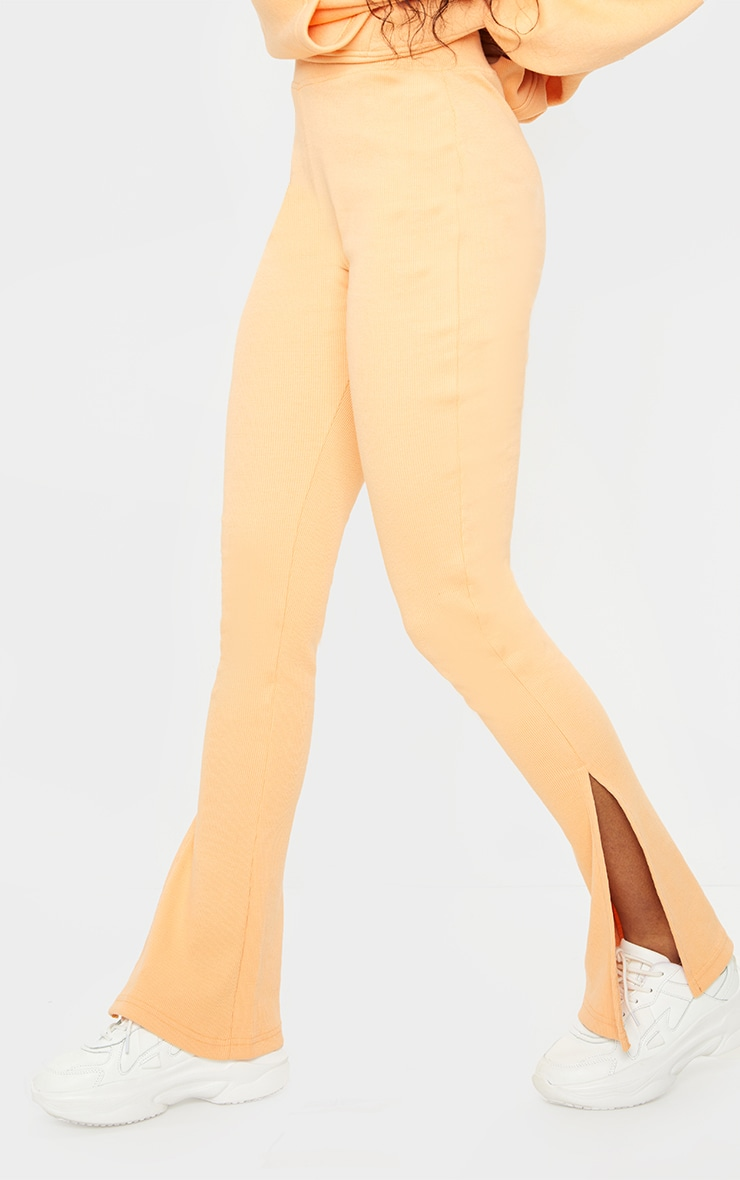Peach High Waisted Textured Rib Split Hem Pants 2