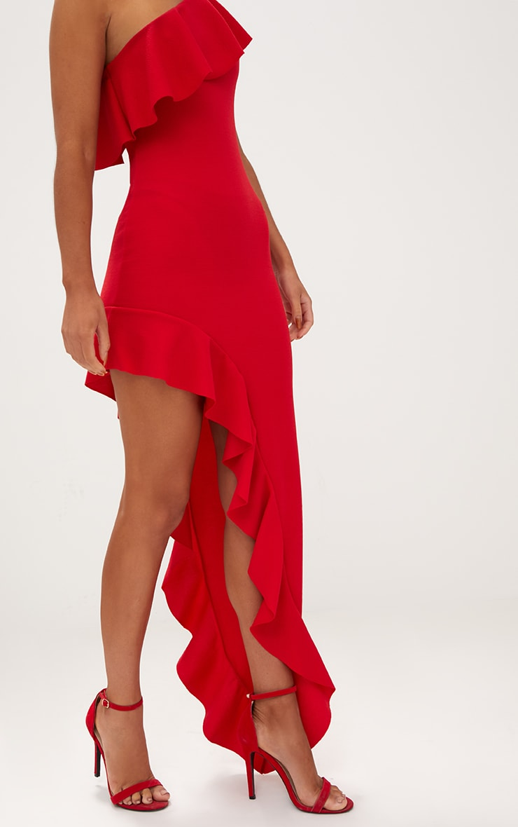Red One Shoulder Ruffle Detail Asymmetric Maxi Dress 5