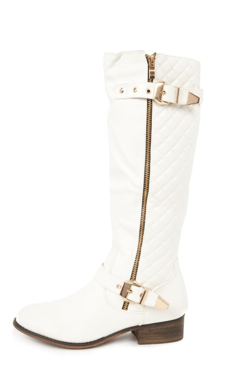 Amaya White Quilted Biker Boots 1