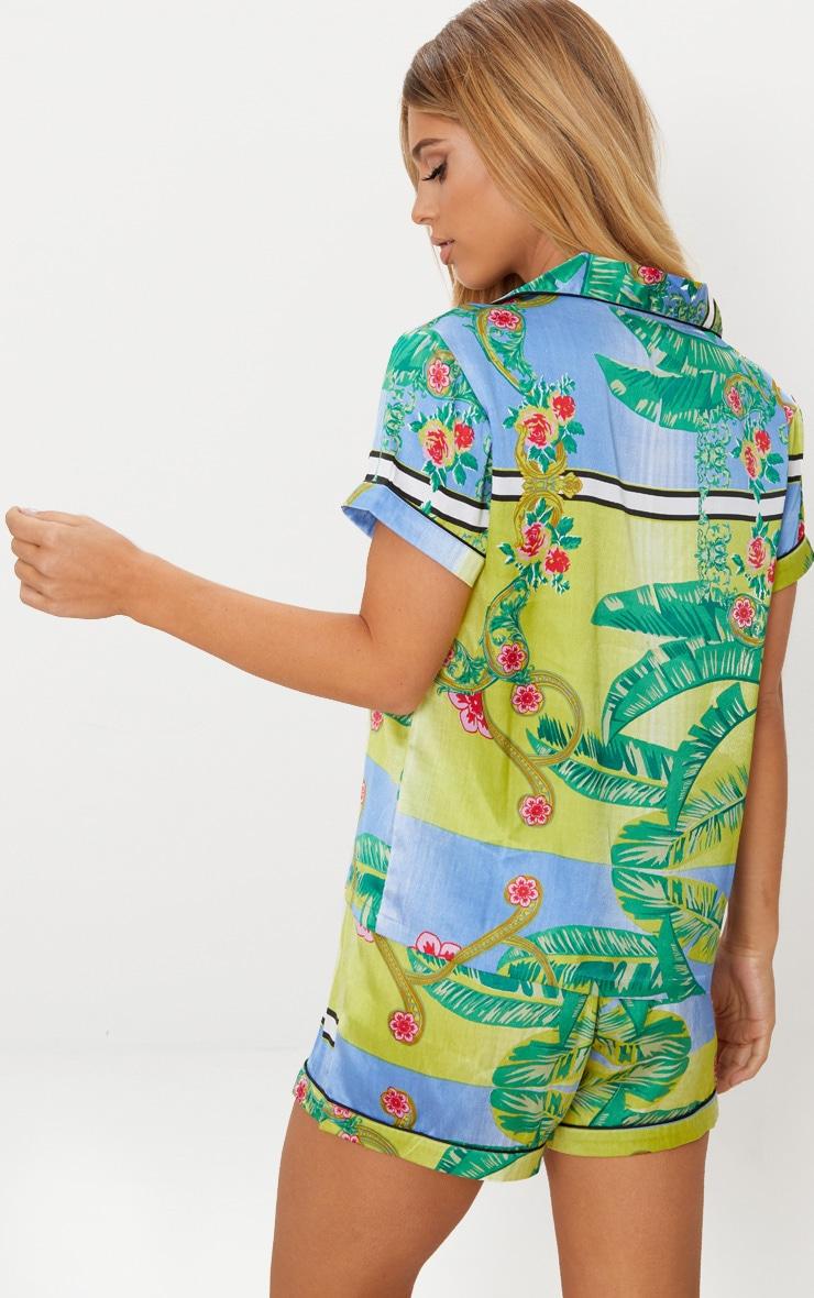 Green Palm Print Button Up Short Pyjama Set 2