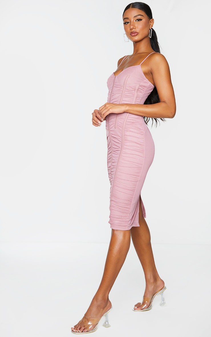 Mauve Mesh Ruched Binding Detail Strappy Midi Dress 3