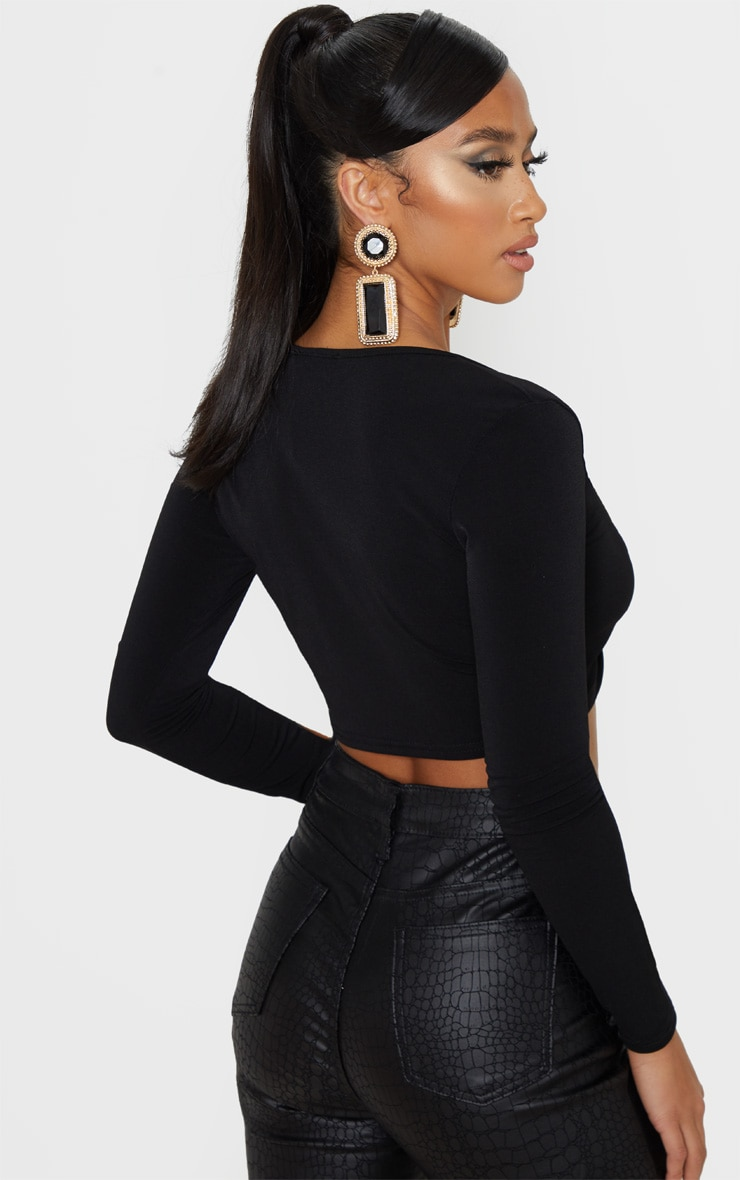 Petite Black Slinky Twist Long Sleeve Crop Top 2