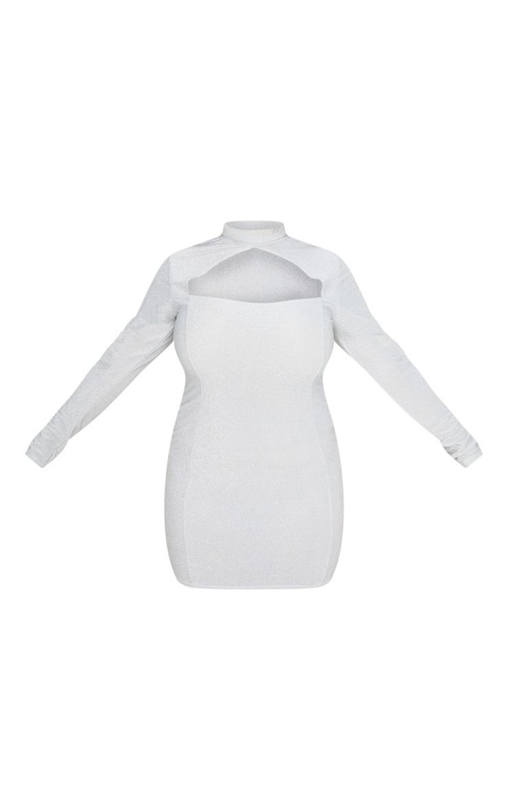 Plus Silver Glittery High Neck Bodycon Dress 3