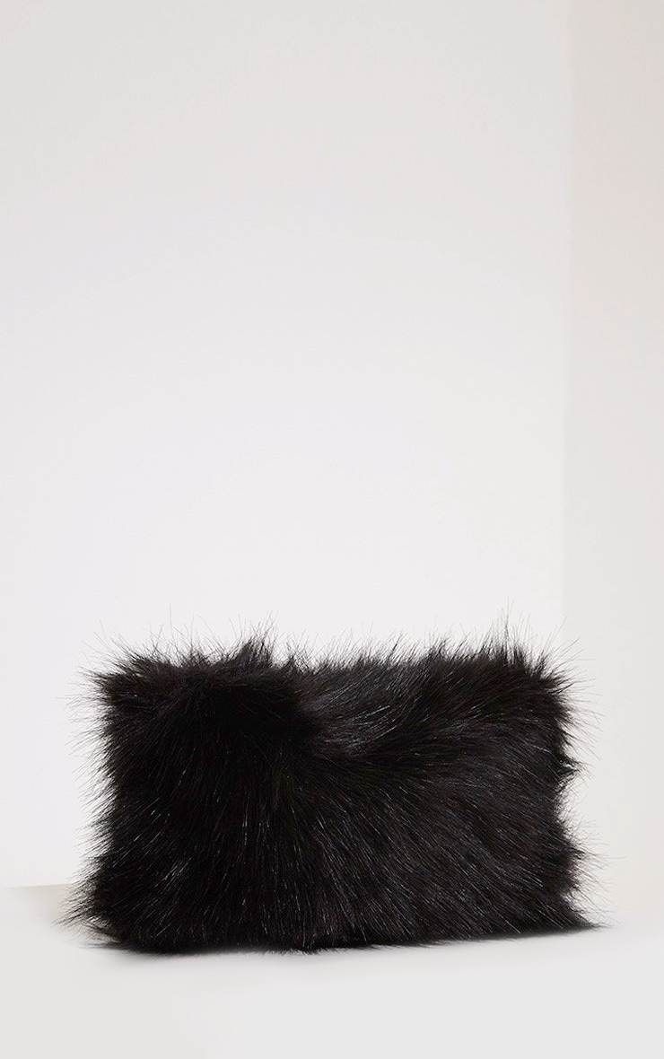 Christah Black Faux Fur Chain Shoulder Bag 4