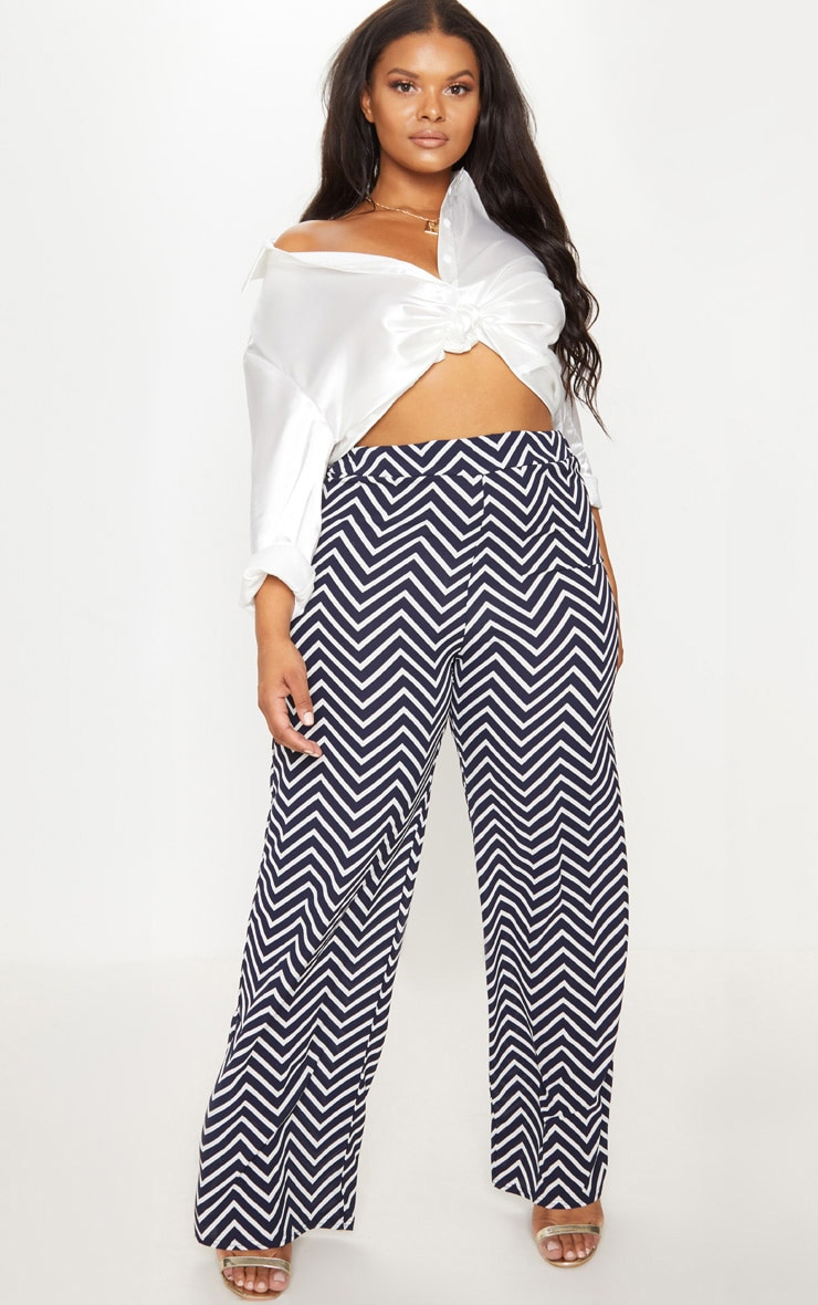 Plus Navy Chevron Wide Leg Trousers 1
