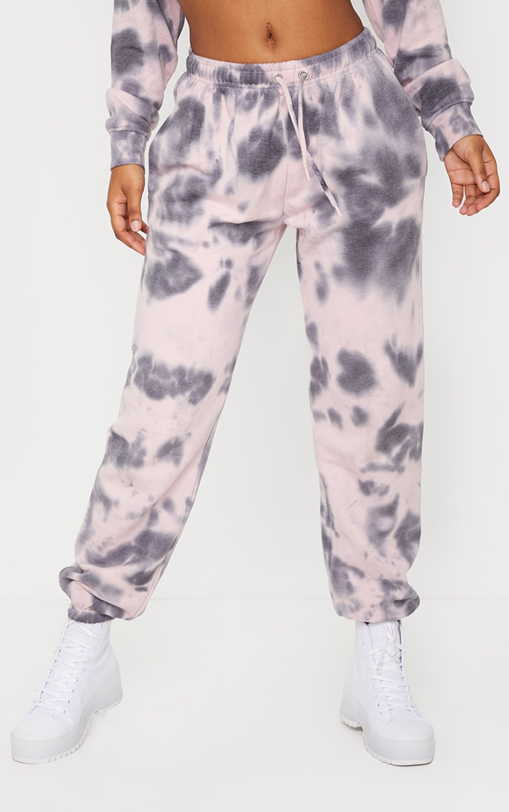 Light Pink Tie Dye High Waist Joggers 2