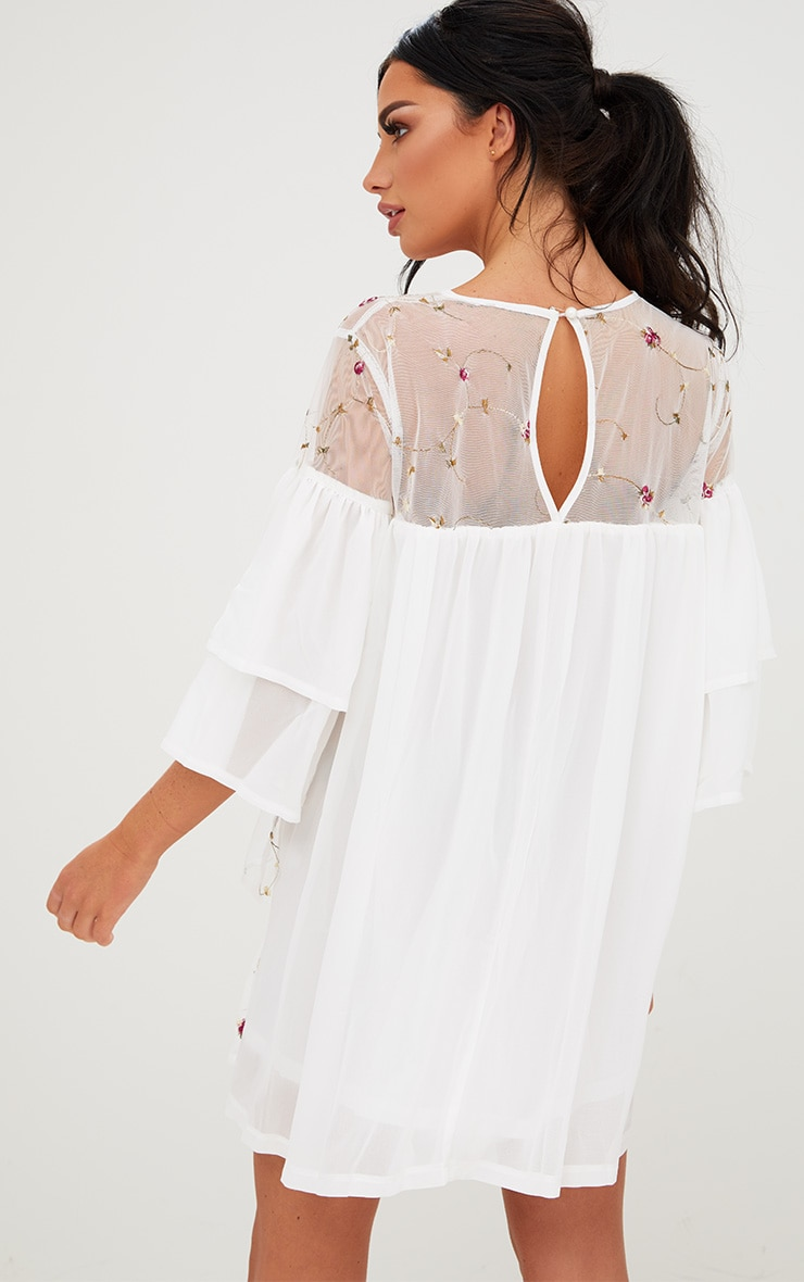 White Embroidered Tiered Mesh Shift Dress 2