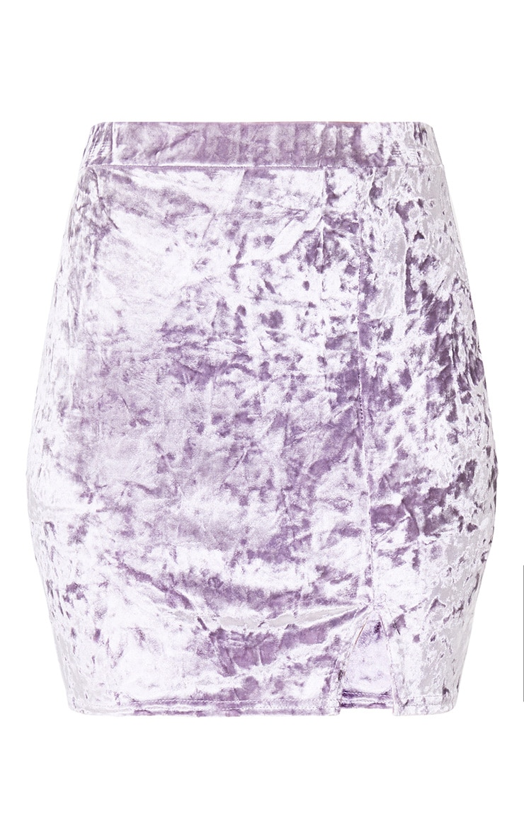 Lilac Velvet Split Mini Skirt 3