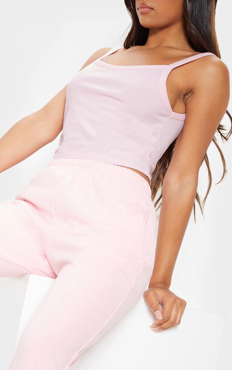 Basic Baby Pink Rib Strappy Vest 5