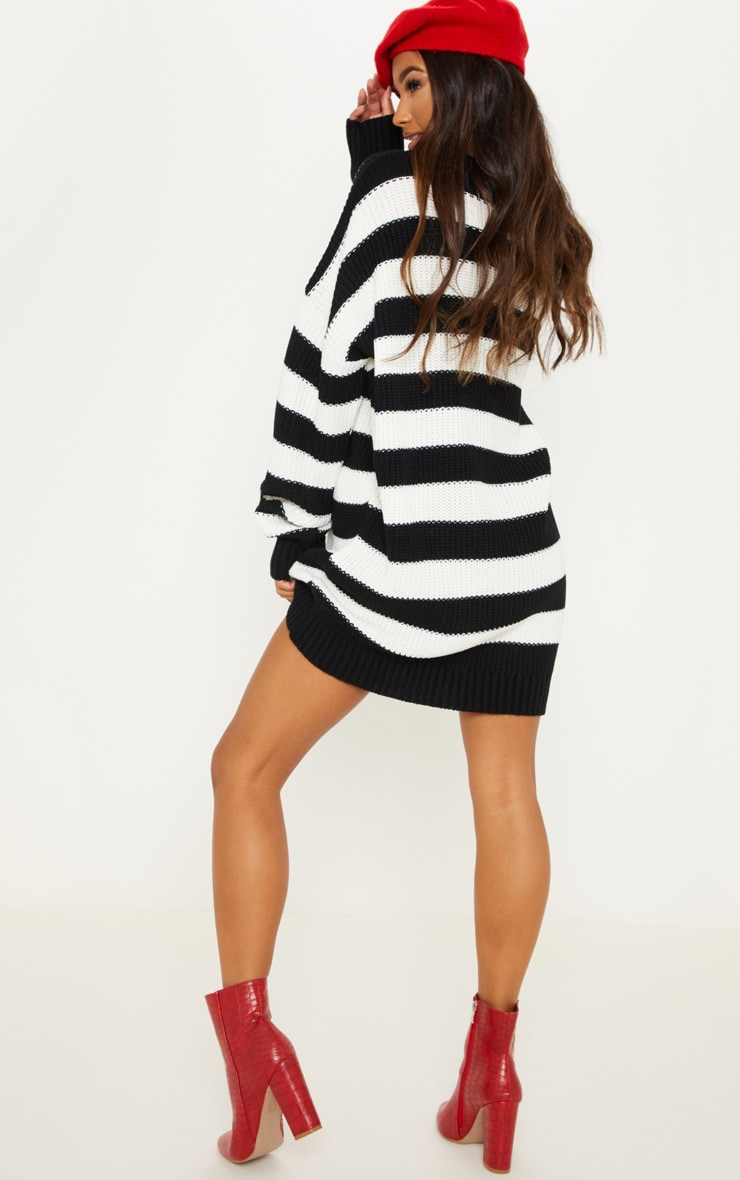 Monochrome Striped Knitted Jumper  2