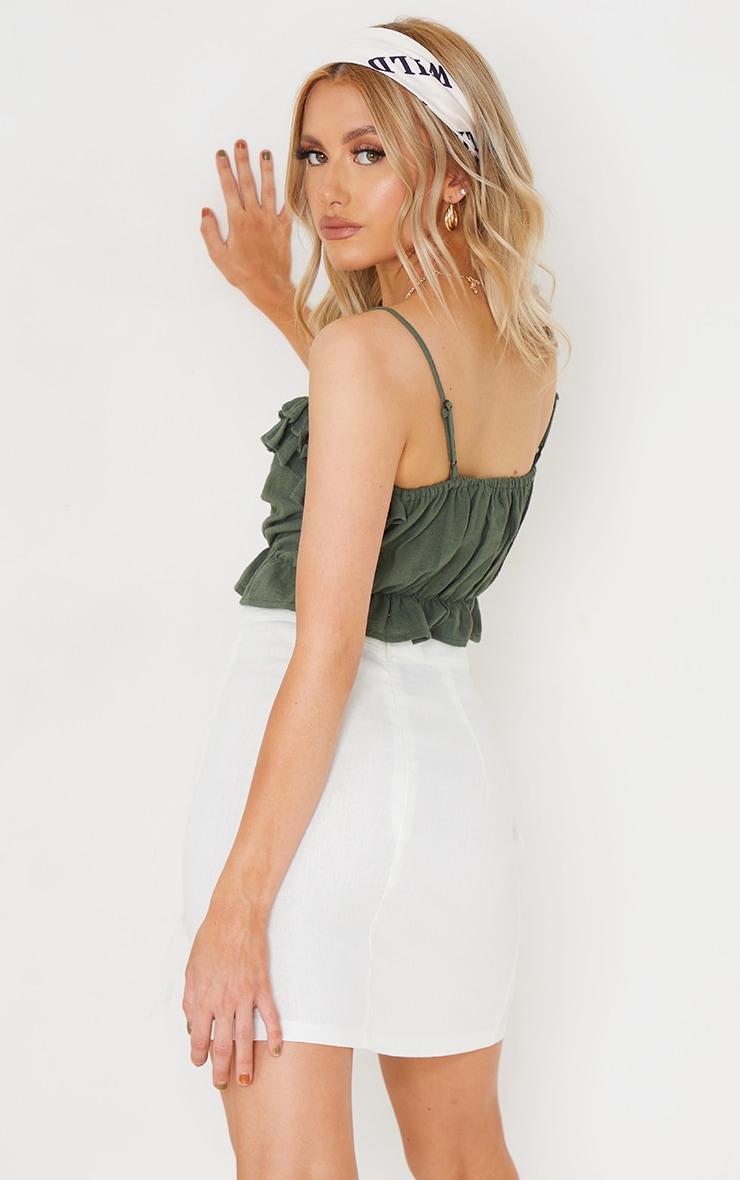 Khaki Linen Look Ruffle Strappy Tie Crop Top 2