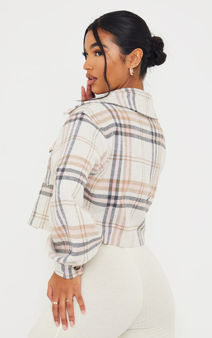Pink Checked Cropped Shacket 2