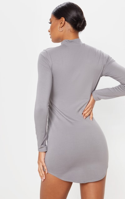 Charcoal Grey Zip Front Long Sleeve Curved Hem Bodycon Dress