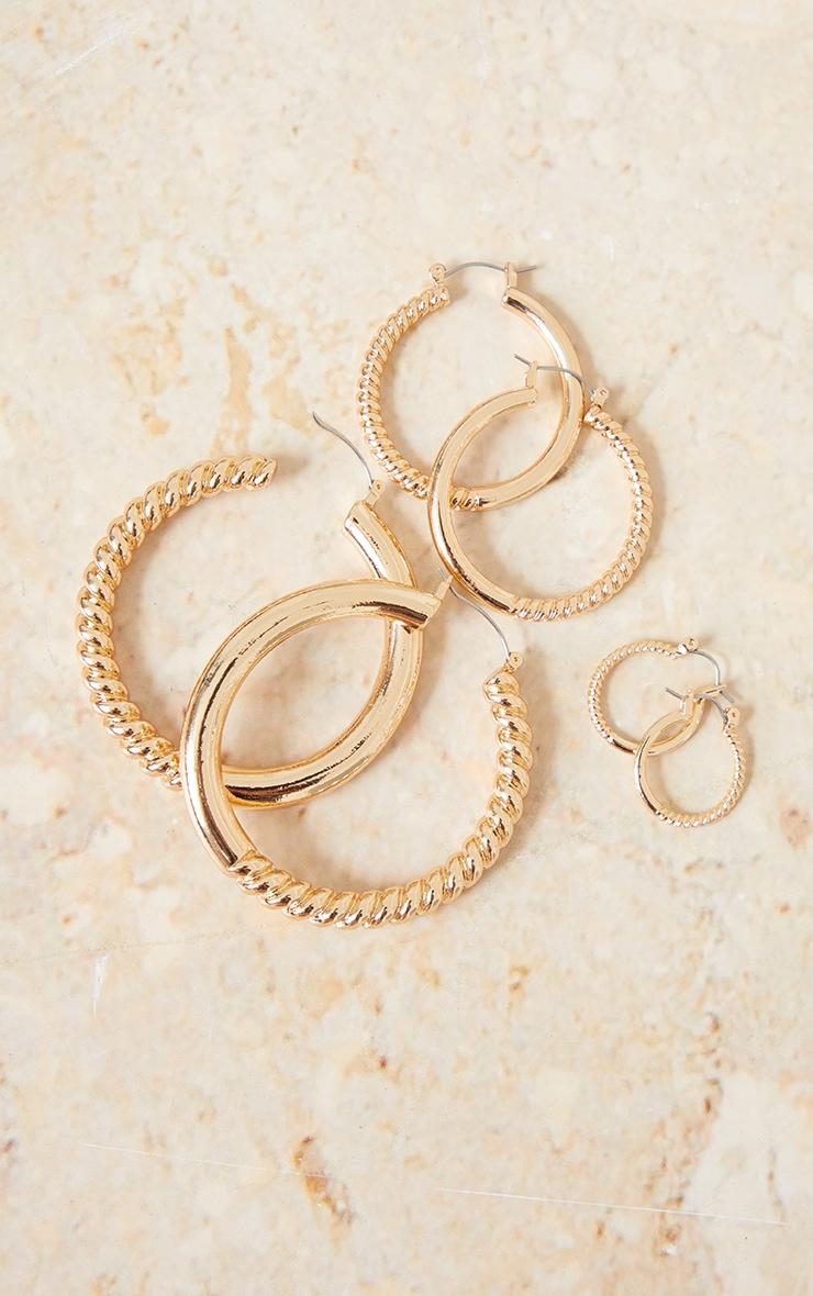 Gold Half Ribbed 3 Pack Hoop Earrings 3