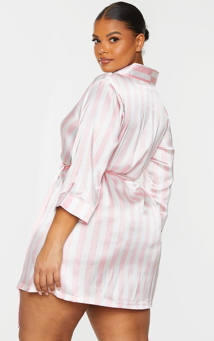 Plus Baby Pink Stripe Satin Robe 2