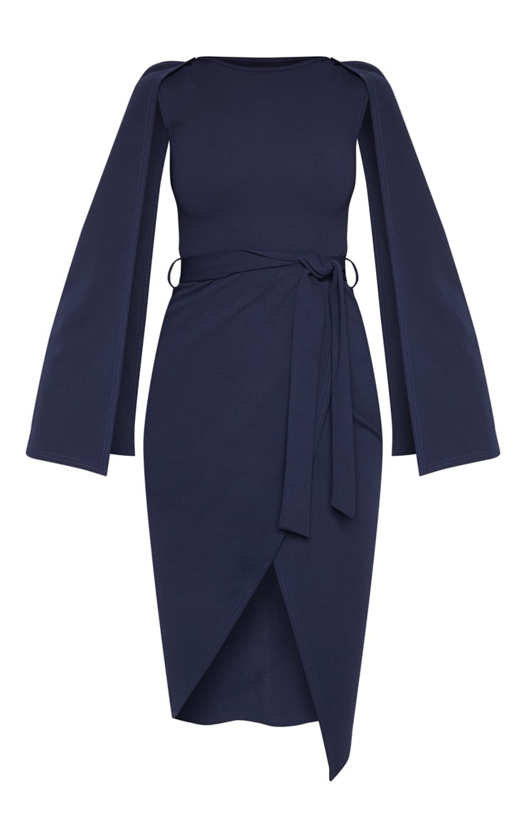 Navy Cape Style Wrap Midi Dress 3