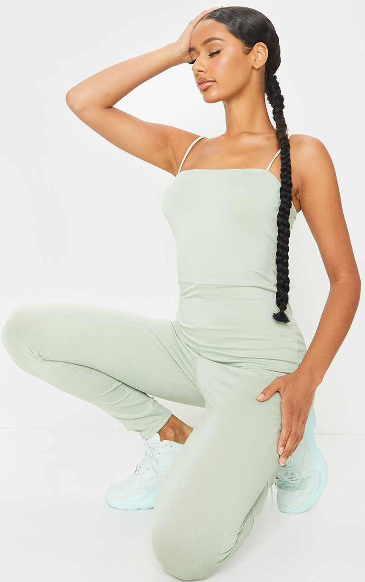 Sage Green Basic Strappy Jumpsuit 3