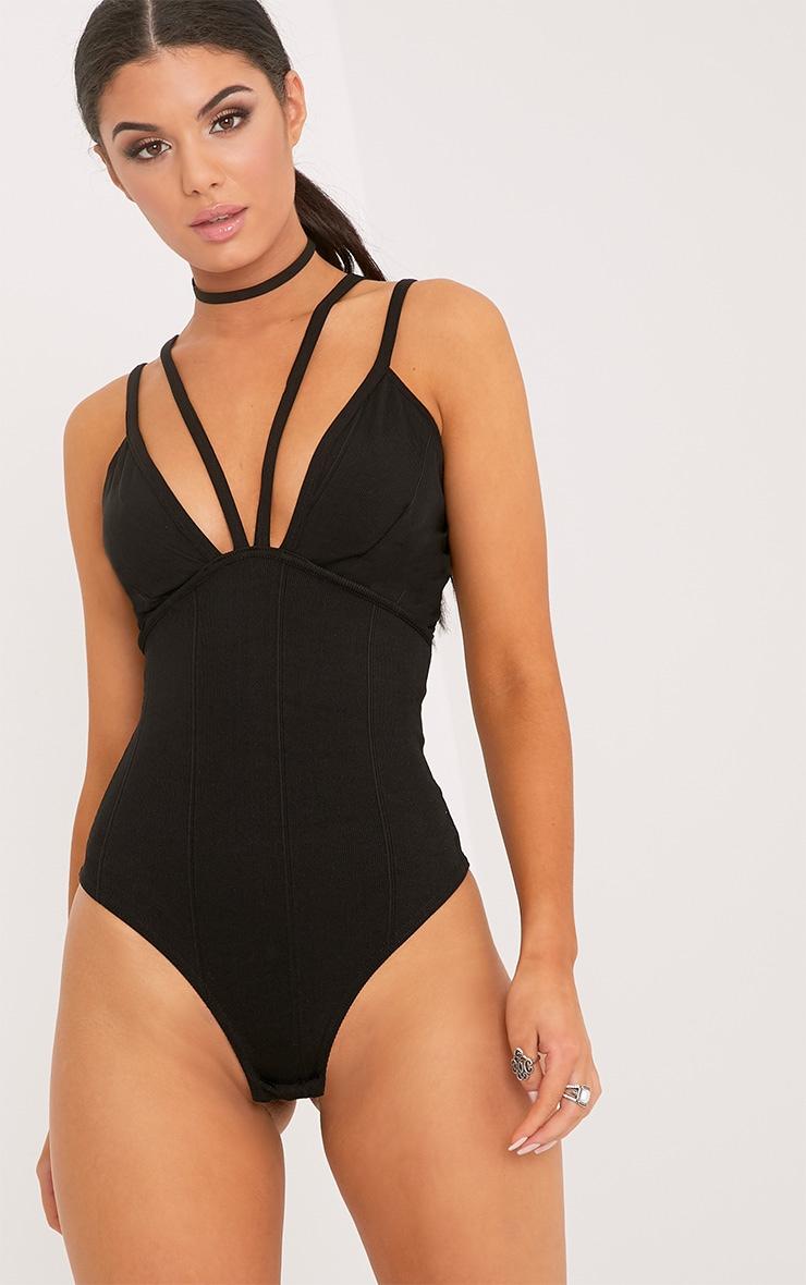 Mica body-string plongeant à harnais noir 2