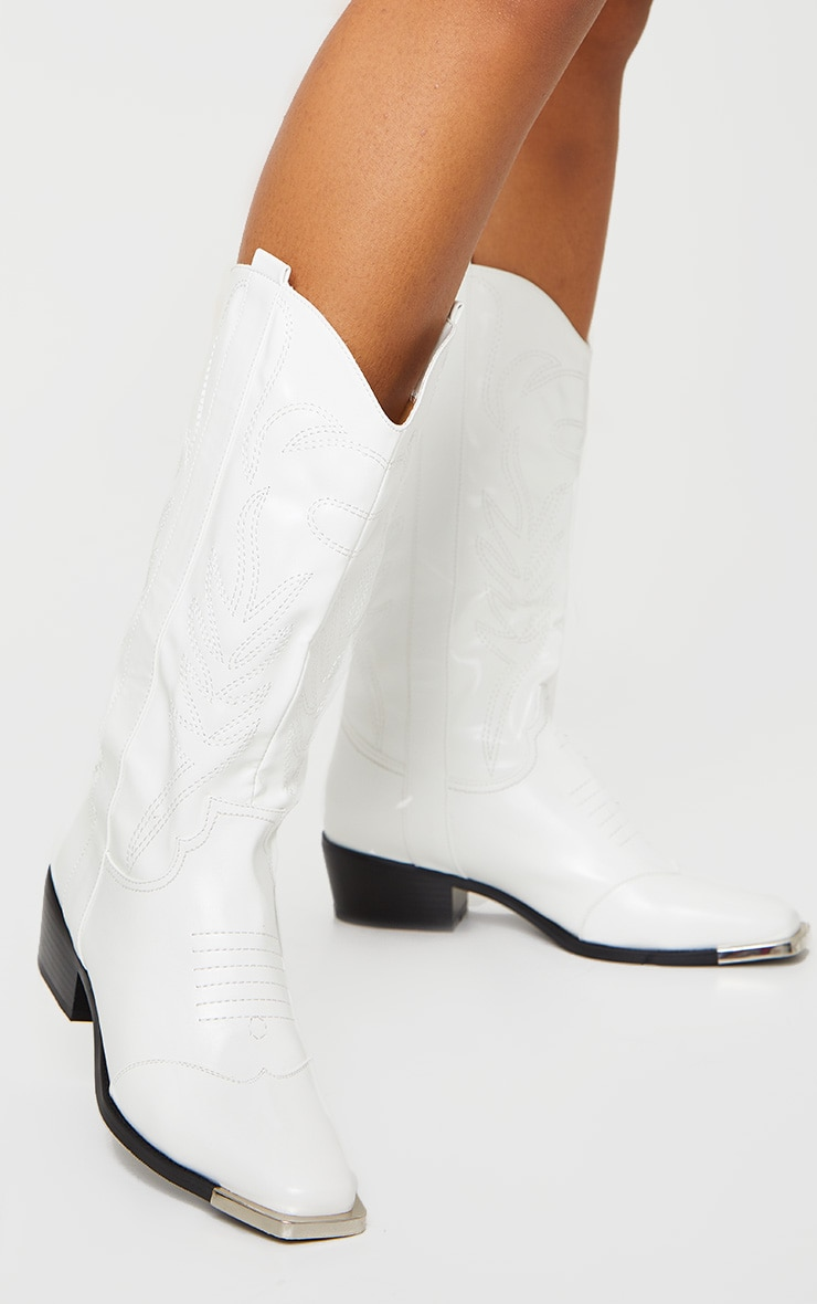 White Contrast Stitch Square Toe Western Calf Boots 1