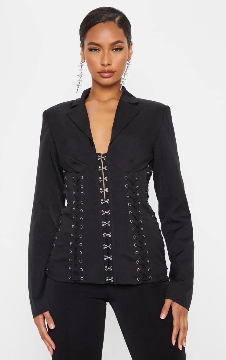 Black Boned Lace Up Corset Blazer 1
