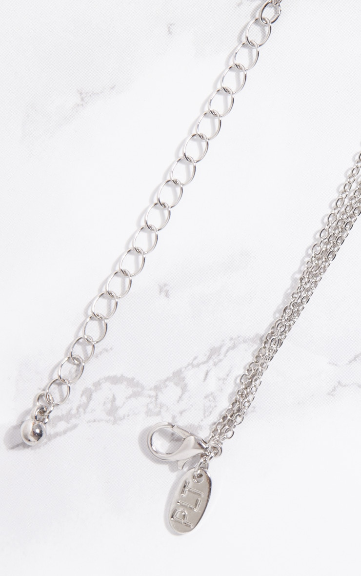 Silver Coin Bull Horn Triple Layer Necklace 4