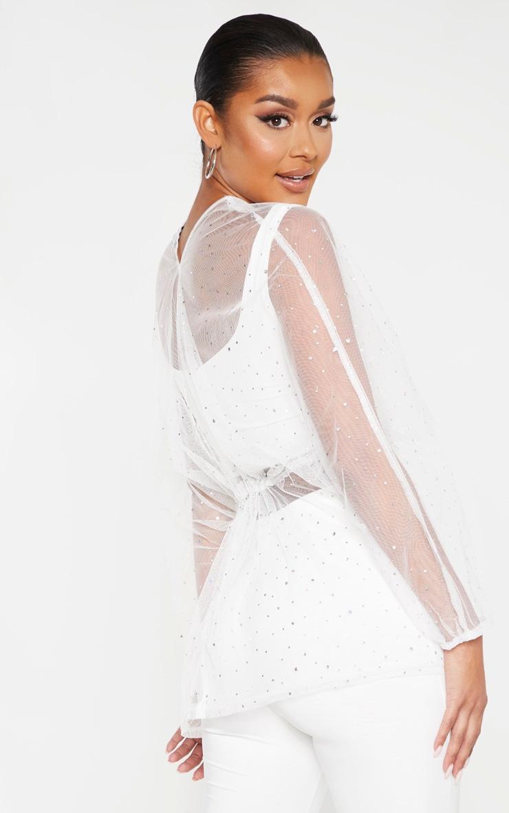 White Mesh Diamante Ruched Waist Shirt  2