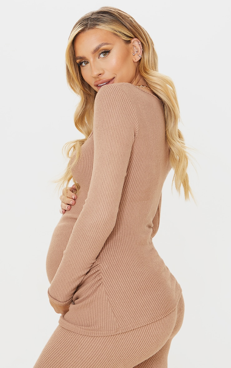 Maternity Mocha Ruched Bust Brushed Rib Top 2