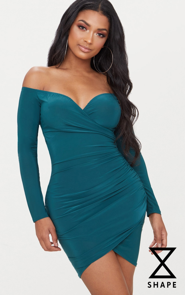 Shape Emerald Green Slinky Ruched Detail Bardot Dress Pretty Little Thing