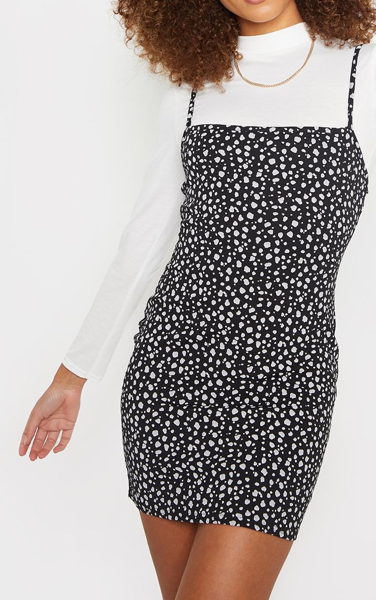 Black High Neck 2 in 1 Dalmatian Strappy Shift Dress 4