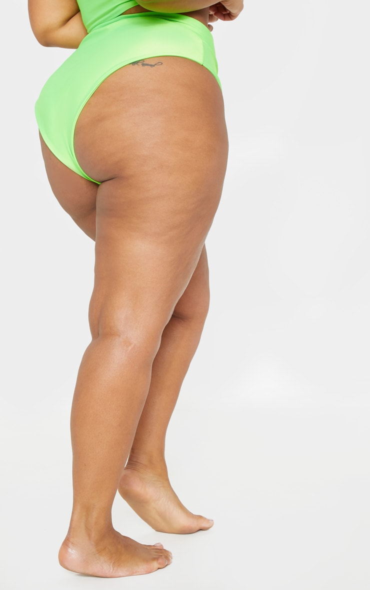 Plus Neon Green Zip Detail Bikini Bottom  4