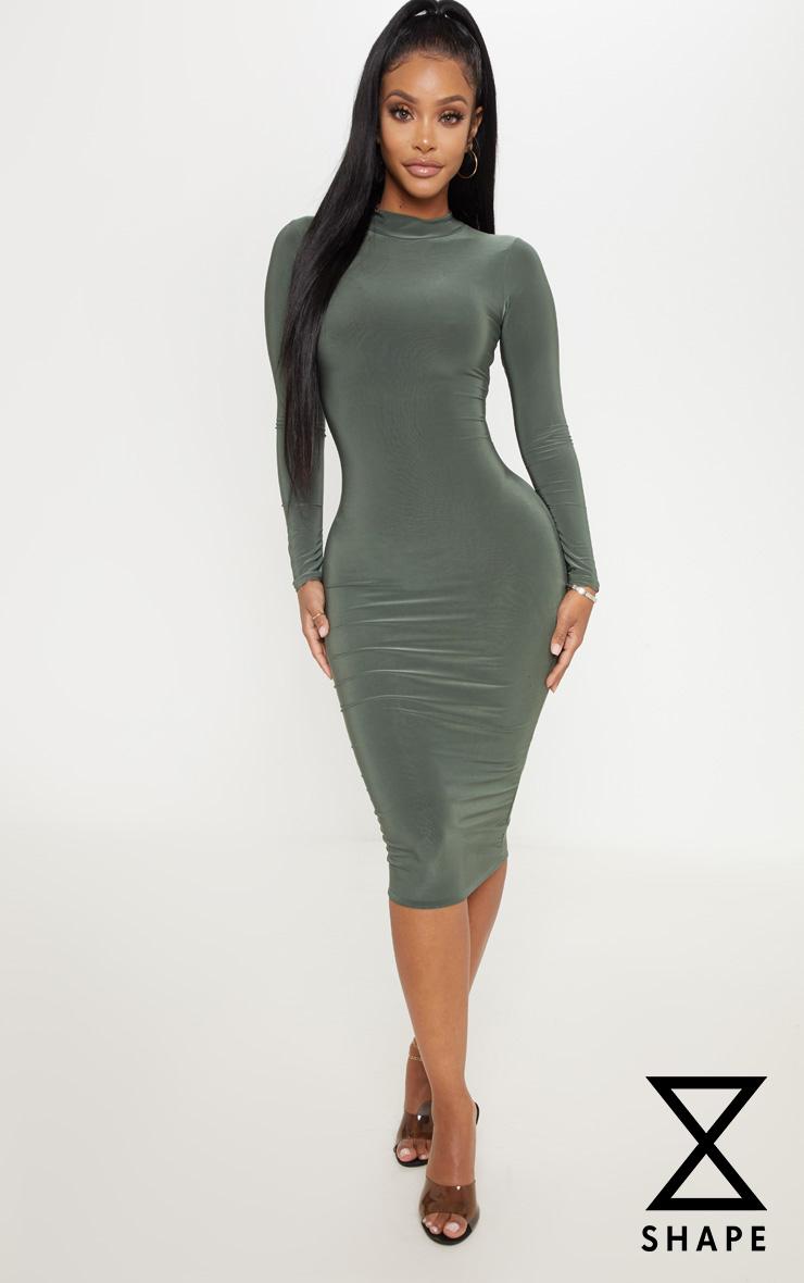 shape---robe-longue-kaki-moulante-à-col- 6abb25566f0