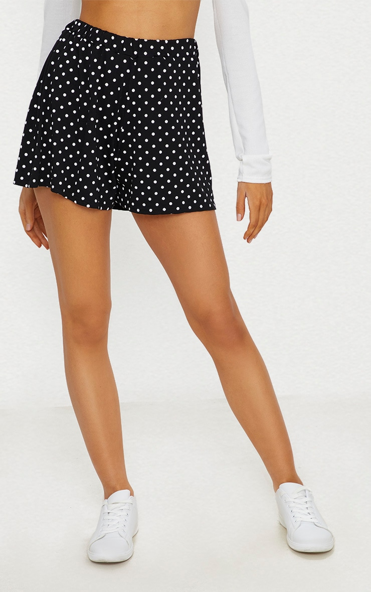 Black Jersey Floaty Polka Dot Short 2