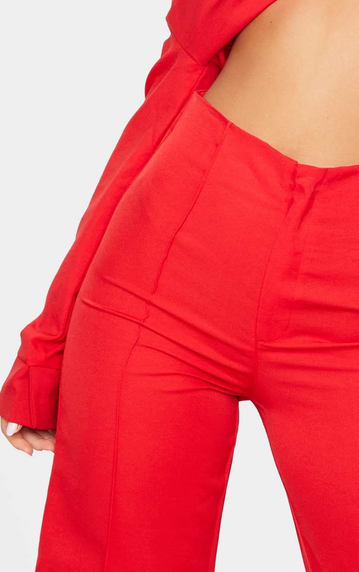 Red Woven Seam Detail Straight Leg Trousers 5
