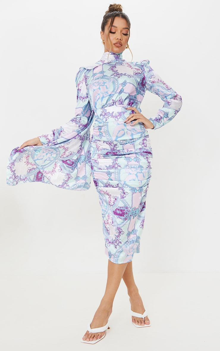 Lilac Paisley Printed Puff Sleeve Dress with Hijab 1
