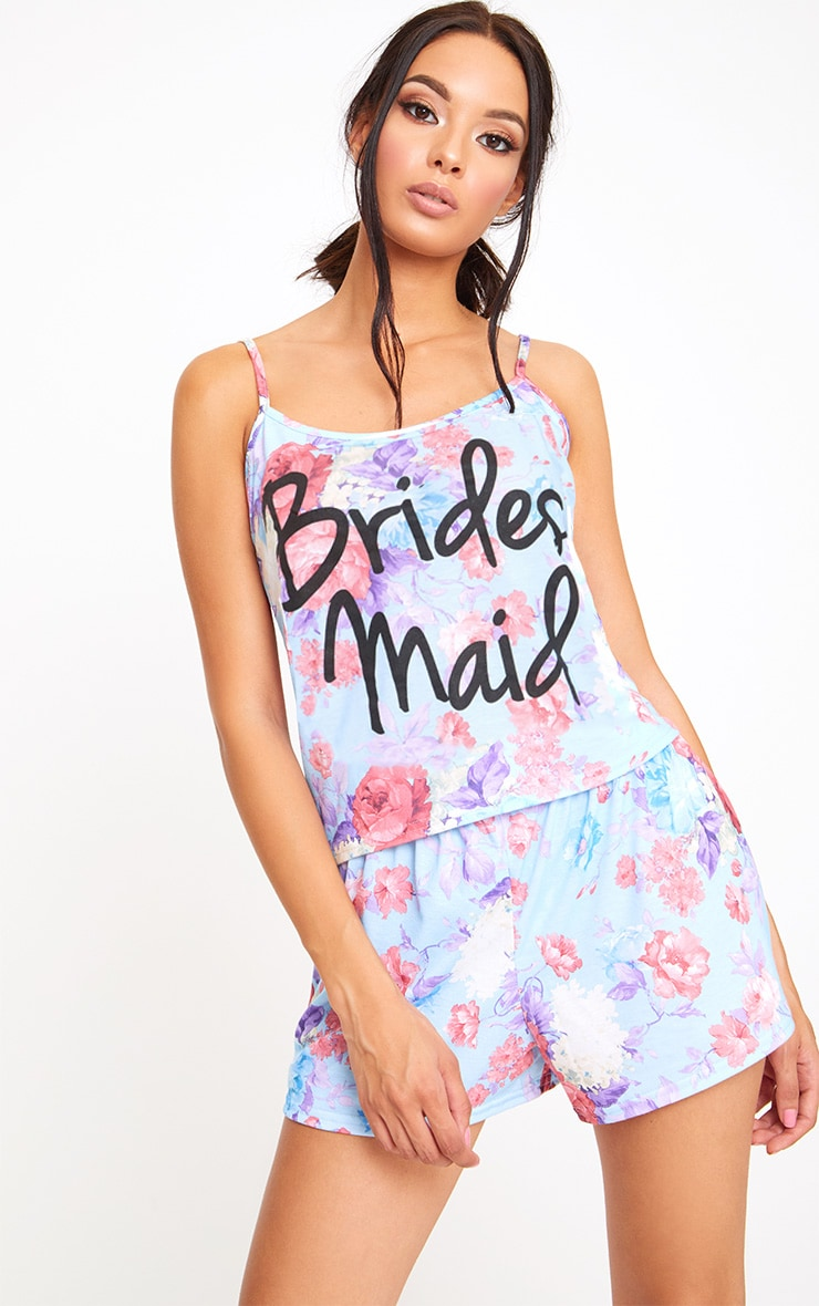 Blue Bridesmaid Floral PJ Set 1