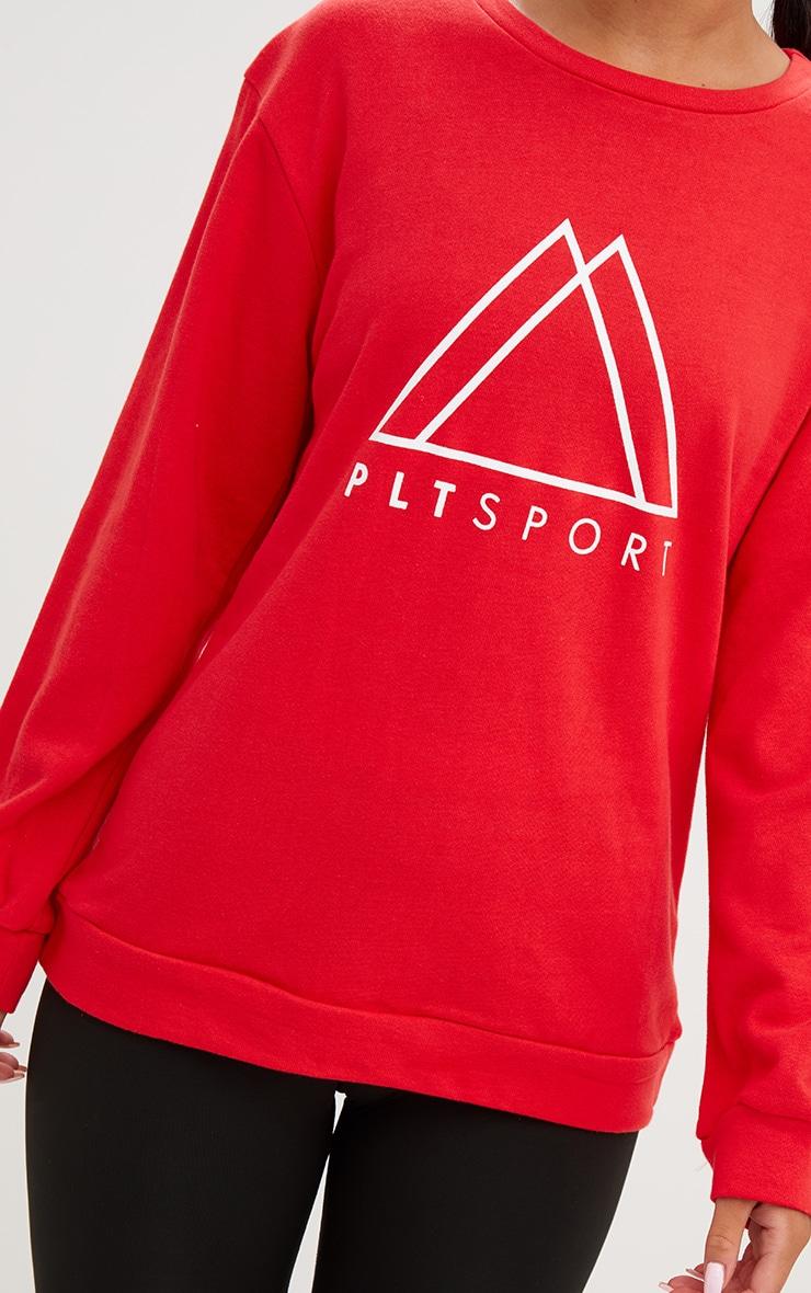 PRETTYLITTLETHING Red Sport Loop Back Sweatshirt  5