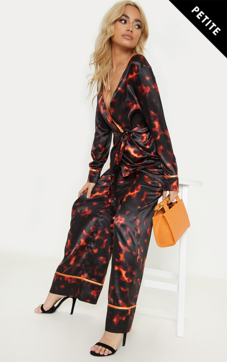 Petite Red Satin Leopard Print Wrap Top