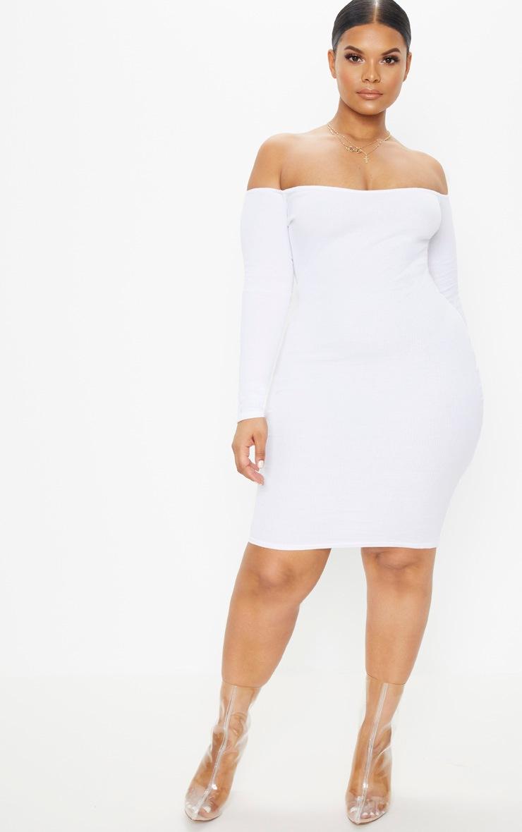 Plus Second Skin White Bardot Ribbed Long Sleeve Midi Dress 4