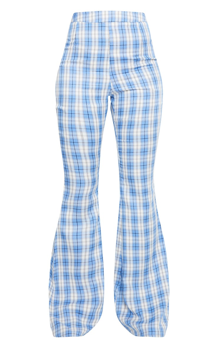 Light Blue Check Print Extreme Flare Trousers 5