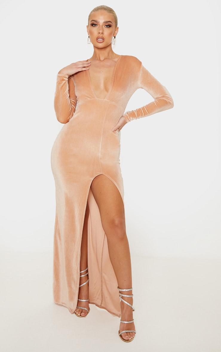 Champagne Velvet Plunge Split Leg Maxi Dress 1